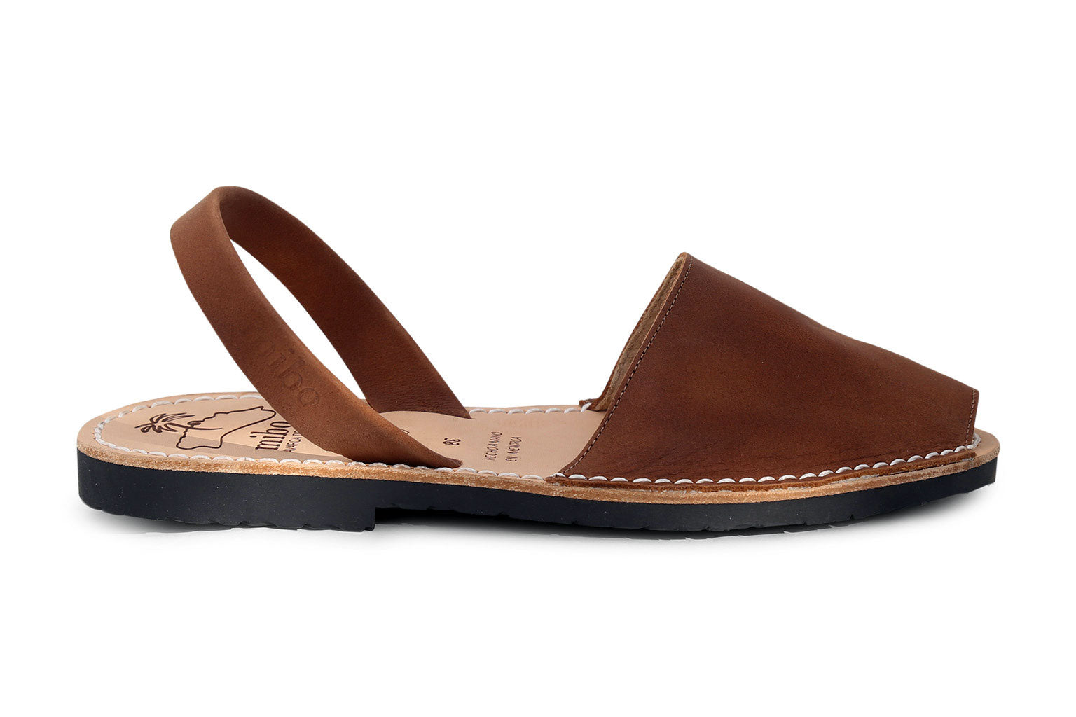 f65ca5af50f6 Mibo Avarcas Brown Leather Menorcan Sandals