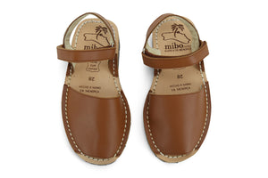 Mibo Avarcas Kids Hook and Loop Brown Leather Slingback Sandals