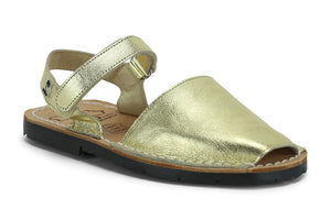 Mibo Avarcas Kids Hook and Loop Gold Leather Slingback Sandals