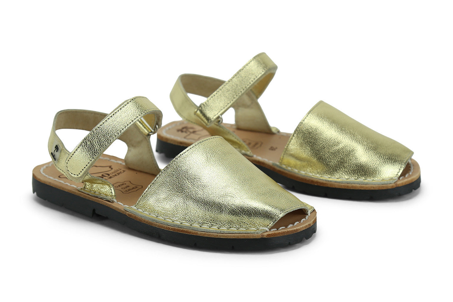 9055ccc5d Mibo Avarcas Kids Hook and Loop Gold Leather Slingback Sandals