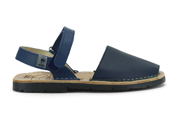Mibo Avarcas Kids Hook and Loop Navy Leather Slingback Sandals