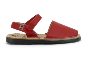 Mibo Avarcas Kids Hook and Loop Red Leather Slingback Sandals