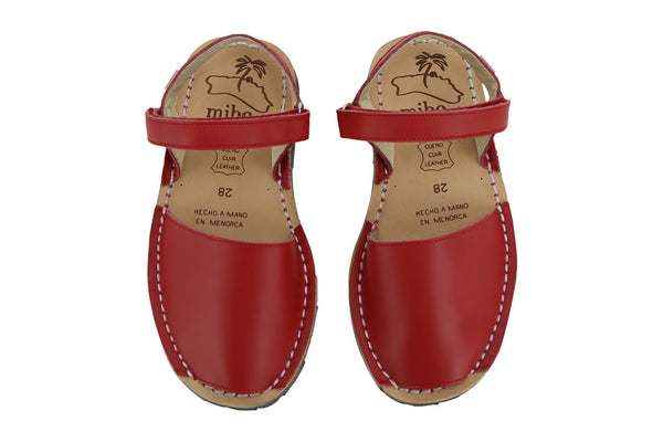 02e1d256d Mibo Avarcas Kids Hook and Loop Red Leather Slingback Sandals - THE AVARCA  STORE