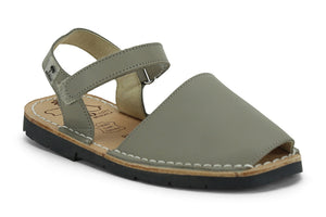 Mibo Avarcas Kids Hook and Loop Taupe Leather Slingback Sandals