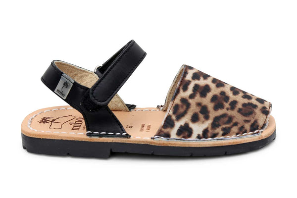 Mibo Leopard Print Hook & Loop Menorcan Sandals