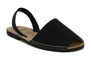 Mibo Avarcas Men's Classics Black Leather Slingback Sandals