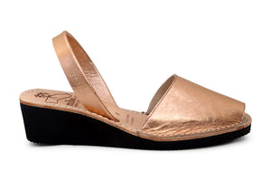 Mibo Avarcas Metallic Rose Gold Wedges Menorcan Sandals