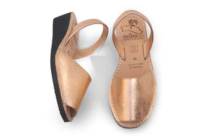 Mibo Avarcas Metallic Rose Gold Wedges Menorca Shoes
