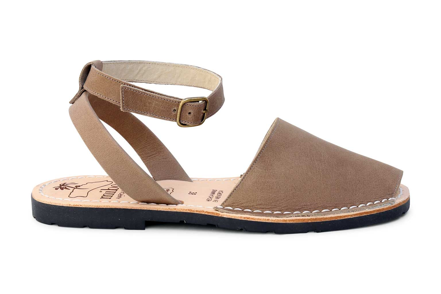 85ca76c7ccfd Mibo Avarcas Taupe Ankle Strap Menorcan Sandals