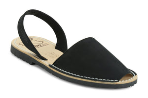 Mibo Avarcas Women's Classics Black Leather Slingback Sandals