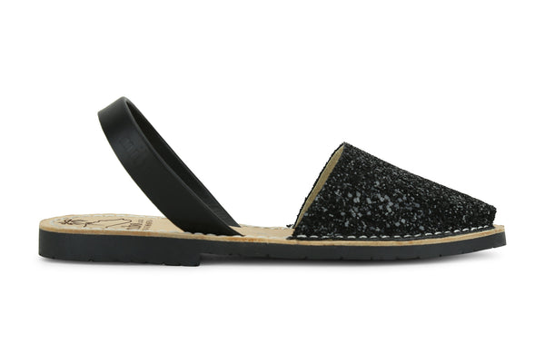 Mibo Avarcas Women's Classics Glitter Black Leather Slingback Sandals