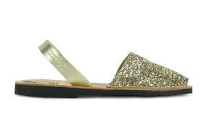 Mibo Avarcas Women's Classics Glitter Gold Leather Slingback Sandals