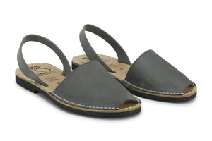 Mibo Avarcas Women's Classics Gray Leather Slingback Sandals