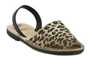 Mibo Avarcas Women's Leopard Faux Print Leather Slingback Sandals