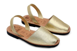 MIBO Gold Leather Avarcas Sandals