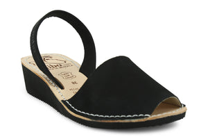 Mibo Avarcas Women's Wedges Black Leather Slingback Sandals