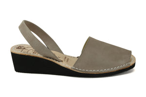 Mibo Avarcas Women's Wedges Taupe Leather Slingback Sandals