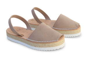 Mibo Flarform Avarcas Taupe Leather Sandals