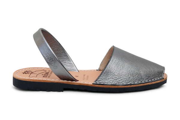 Mibo Metallic Pewter Leather Avarcas