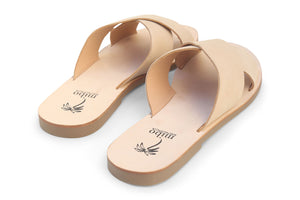 Mibo Nude Leather Crossed Sandals