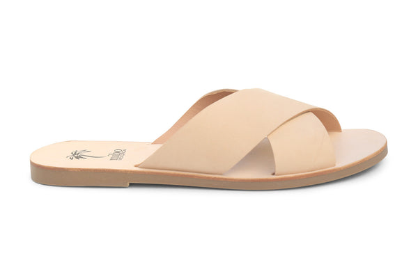 Mibo Nude Leather Crossover Sandals