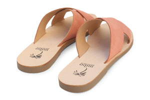Mibo Salmon Leather Crossover Sandals