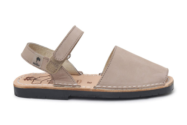 Mibo Taupe Hook & Loop Menorcan Sandals