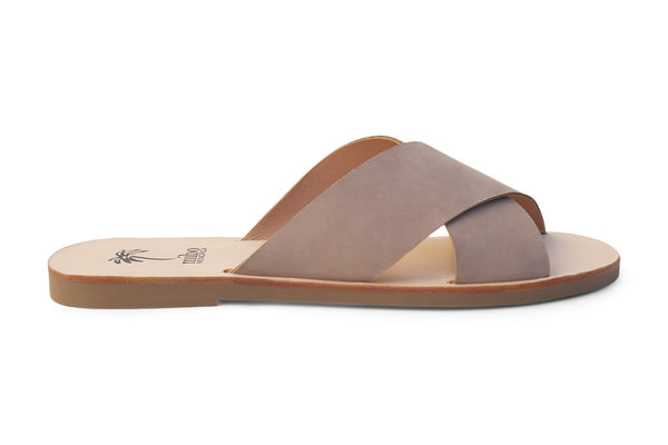 Mibo Taupe Leather Crossover Sandals