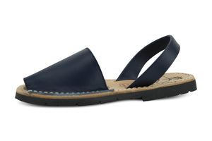 Mibo Avarcas Kids Classics Navy Leather Slingback Sandals