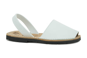 Mibo Avarcas Kids Classics White Leather Slingback Sandals
