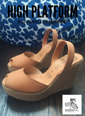 Mibo Avarcas Tan High Wedge Espadrilles
