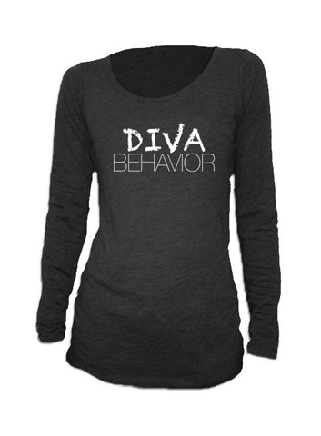DIVA BEHAVIOR - women's triblend long sleeve scoop neck