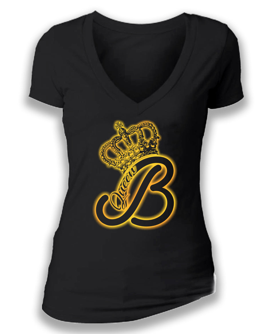 QUEEN B - women's short sleeve deep v tee foil tee