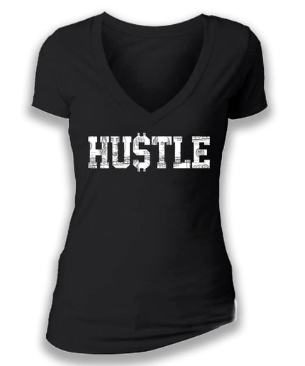 HUSTLE - women's short sleeve deep v tee