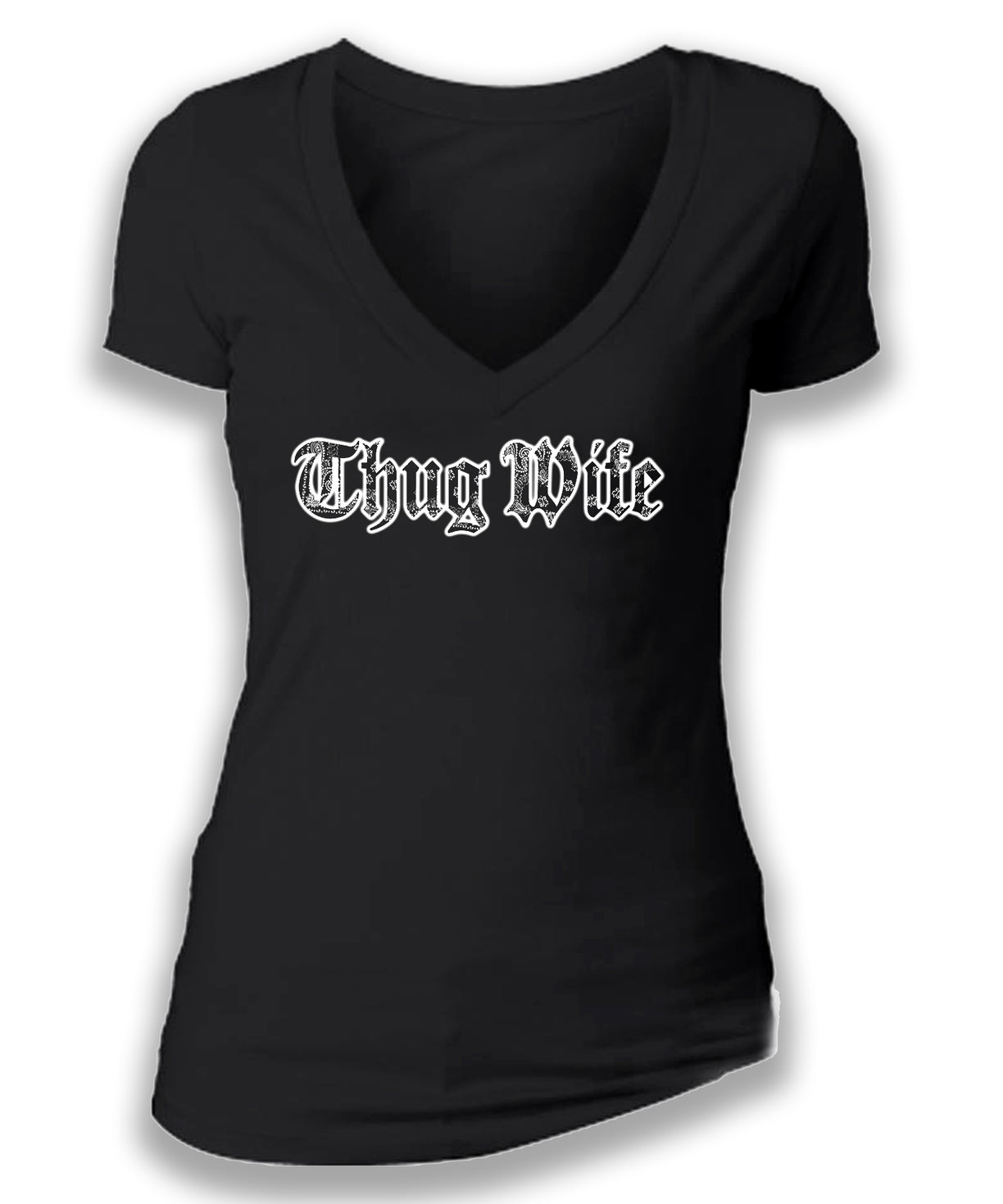 THUG WIFE - women's short sleeve deep v tee
