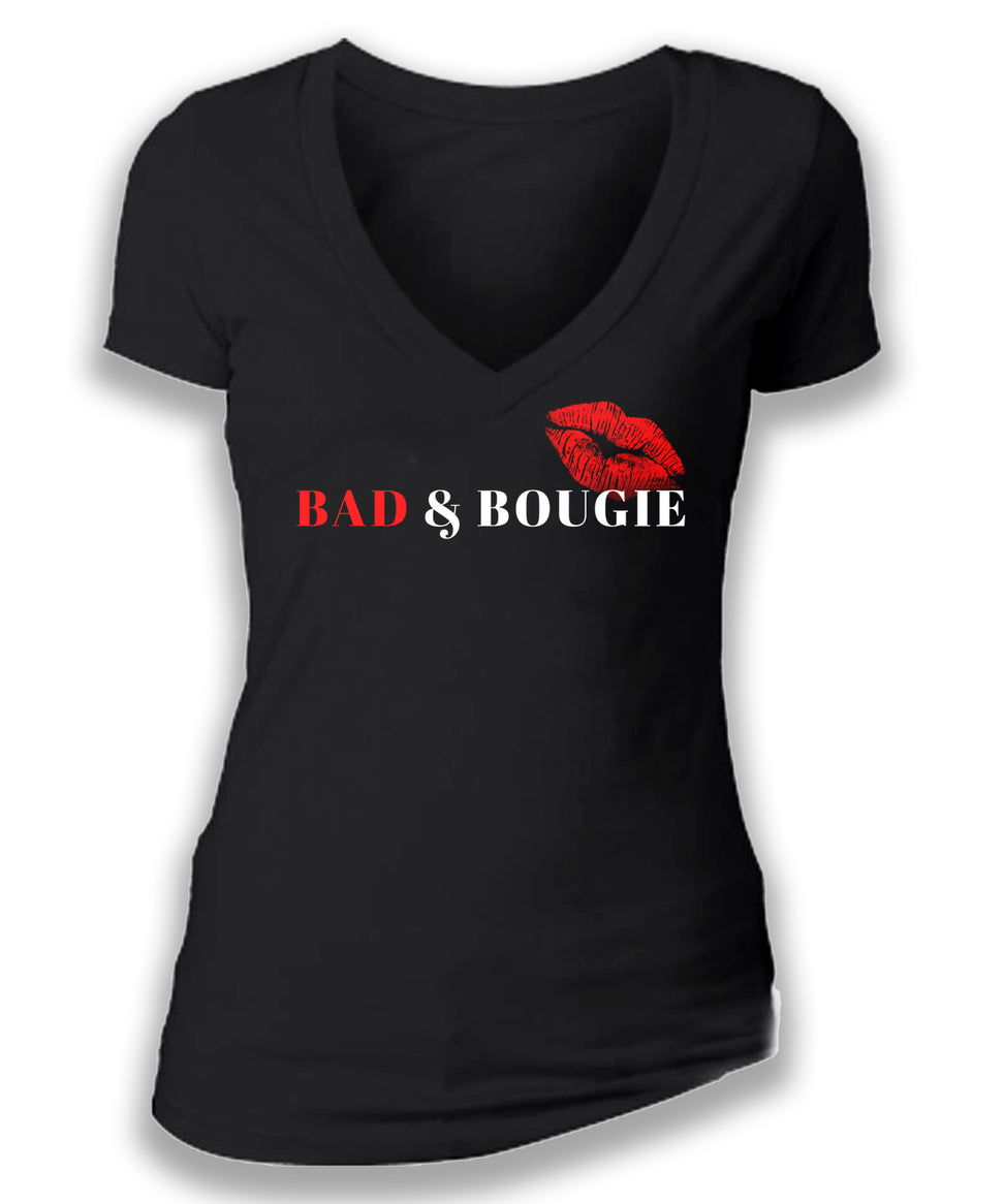 BAD & BOUGIE - women's short sleeve deep v tee