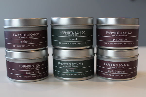 Farmer's Son Candles - Tins