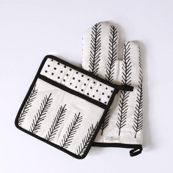LIttle Korboose Feather Organic Cotton Pot Holder and Oven Mitt
