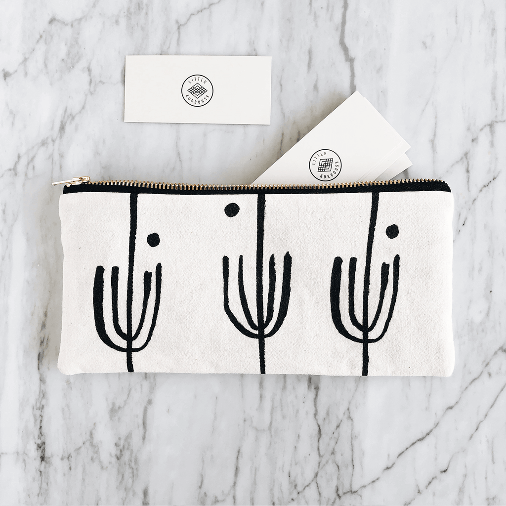 Saguaro | Organic Cotton Zipper Pouch - Large (FREE SHIPPING)