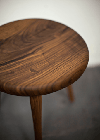 Furniture. Hahn 3 Legged Walnut Stool