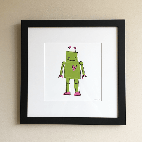 Framed Screen Printed Green Robot Wall Art