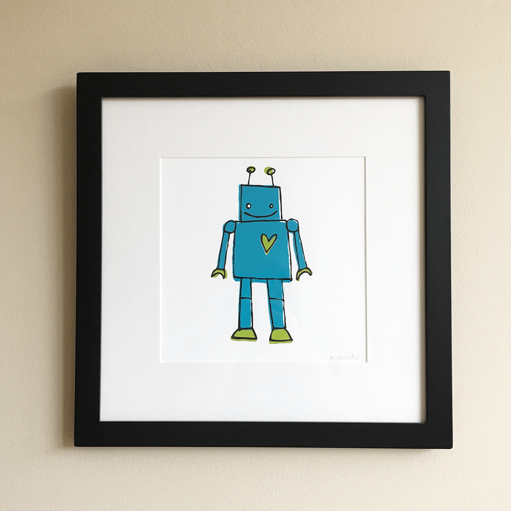 Framed Screen Printed Blue Robot Wall Art