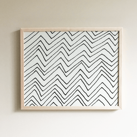 Chevron Framed Textile 16x20