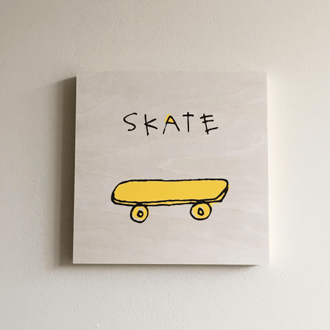Screen Printed Skateboard Art on Wood Panel