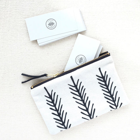 Feather Organic Cotton Zipper Pouch