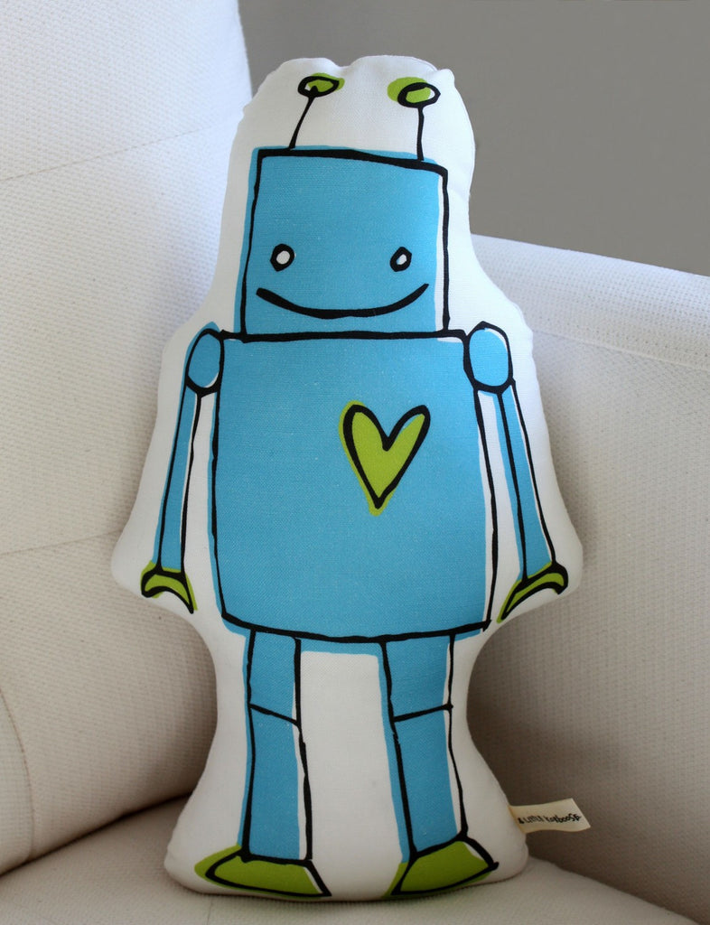 Blue Robot Stuffed Pillow