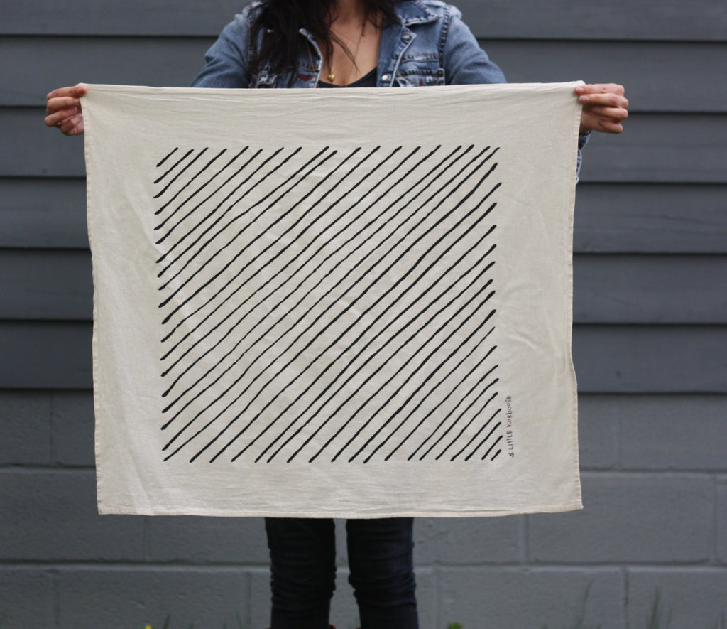 Diagonal Stripe Organic Cotton Tea Towel