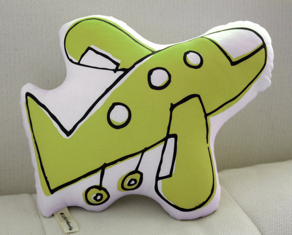 Airplane Pillow - Lime Green