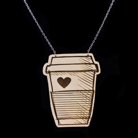Wood Coffee Addict Necklace