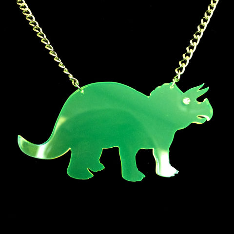 Neon Green Clear Triceratops Acrylic Necklace